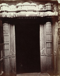 Close view of entrance to the shrine of the temple at Dhotra, Buldana District, Berar 1000191986